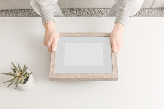 Wooden Picture Frame with Mat Mockup