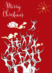 Human Tower Wishes Christmas Card