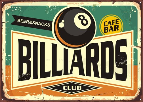 Retro billiards sign design with black eight ball on green background