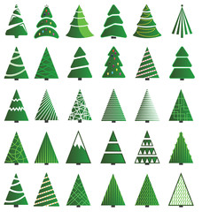 Green Christmas Tree Icon set