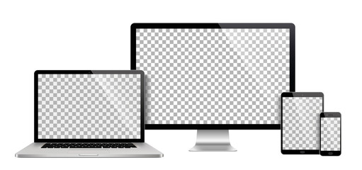 Realistic set of monitor, laptop, tablet, smartphone - Stock Vector