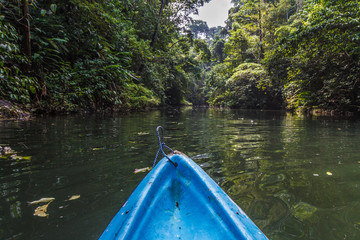 Kayaking the Rio Claro in the jungle of Costa Rica