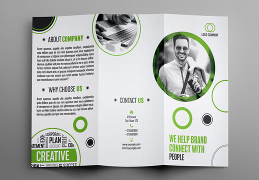 Trifold Brochure Layout with Green Accents