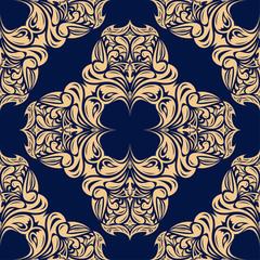 Golden blue floral seamless pattern