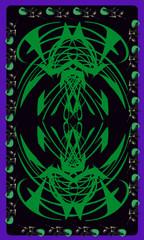 Tarot cards - back design.  Green pattern