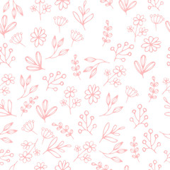 Vector floral seamless pattern in doodle style with flowers and leaves. Gentle, spring floral background, texture. wrapping
