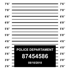 Police mugshot. Police lineup on white background.