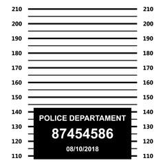 Police mugshot. Police lineup on white background.