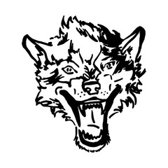 The head of a wolf with an open mouth. Hand drawn sketch image. Vector illustration.