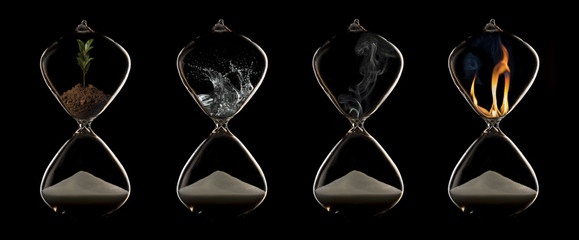 Four elements of fire, plant, water and air in hourglasses