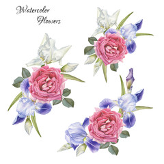 Bouquet of flowers. Flowers set of hand drawn watercolor roses and irises