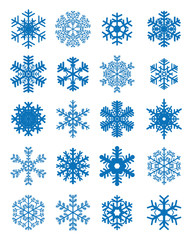 Set of different blue snowflakes on a white background