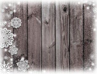 brown wooden texture. Mysterious Christmas night.  Winter. Dark brown christmas background. Snow and snowflakes.