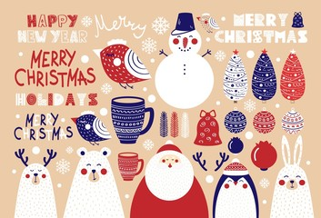 Cute set of Christmas elements for posters and postcards
