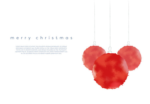 Christmas Web Banner with Watercolor Ornaments