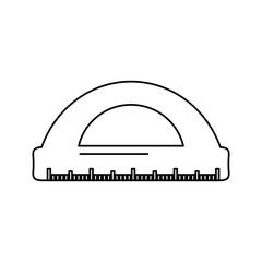 school protractor geometric supply element icon vector illustration outline