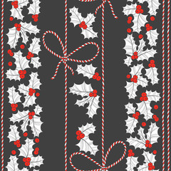 Seamless vector pattern with holly and twisted cord on a black background.