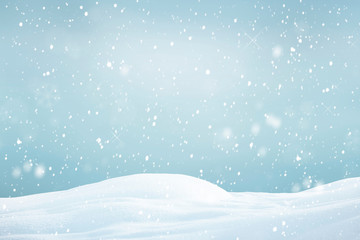 Foto op Plexiglas Lichtblauw Winter background, falling snow