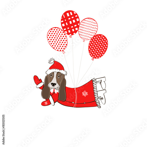 dd49a0774a1 Basset Hound in Santa Claus costume flying on balloons. Vector ...