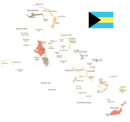 The Bahamas - vintage map and flag - Detailed Vector Illustration