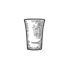 Empty glass tequila. Vector engraving black vintage
