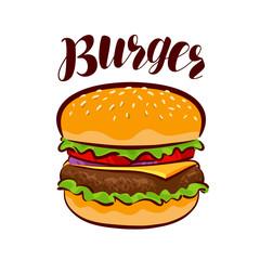 Burger, American fast food. Element for design menu restaurant or cafe. Cartoon vector illustration
