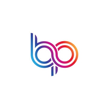 Initial lowercase letter bp, linked outline rounded logo, colorful vibrant gradient color