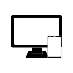 monitor computer smartphone gadget screen device vector illustration black image