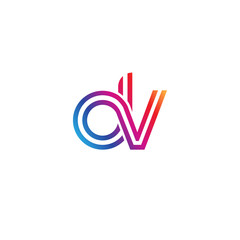 Initial lowercase letter dv, linked outline rounded logo, colorful vibrant gradient color