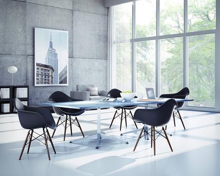Loft mit Glastisch und schwarzen Stühlen