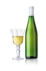 Glass and bottle of white wine, isolated