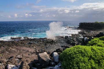 Coast of Espanola Island with blowholes, Galapagos National park, Ecuador.