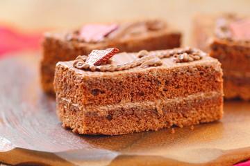 Chocolate cake with sweet cream