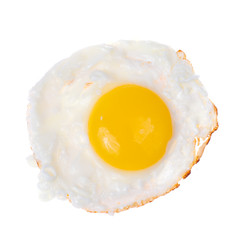 Brown wooden plate with fried egg