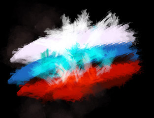russian flag painted brush