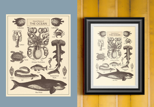 Antique Illustrated History of the Ocean Poster