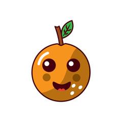 orange happy fruit kawaii icon image vector illustration design
