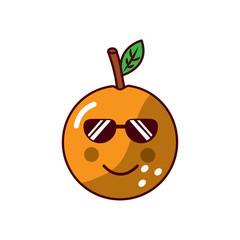 orange wearing sunglasses happy fruit kawaii icon image vector illustration design