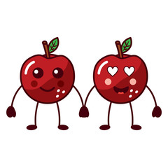 apples happy and in love fruit kawaii icon image vector illustration design