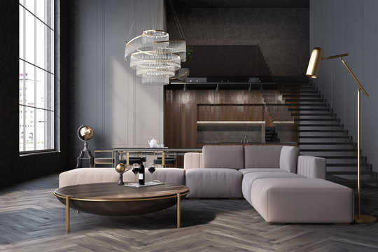 Gray living room, sofa and table