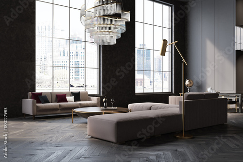 Gray and black living room corner\