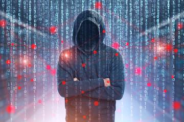 Unrecognizable hacker, zeros and ones, network