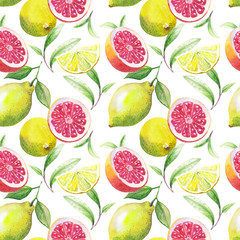 Nice handmade pattern of tea leafs and citrus fruits: lemon, grapefruit, orange, lime. watercolor.