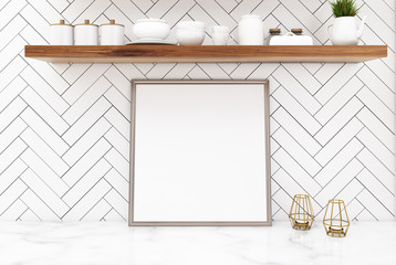 White kitchen table with a square poster