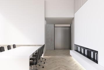 White meeting room interior, books