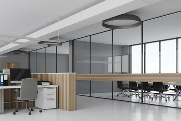 White office corner wooden desks concrete