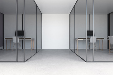 Glass and white office interior