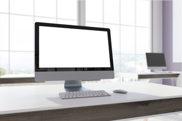 White office, computer screen