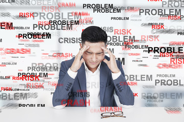 Stressed Asian man, problem
