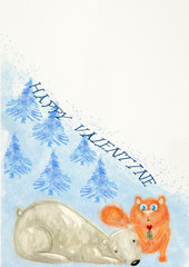 Happy Valentine. Greeting card. Watercolor and gouache.
